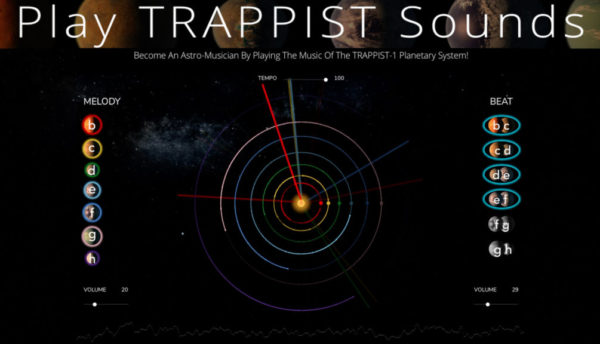 You can now play the music of the TRAPPIST-1 system any way you want by simply pressing buttons in our new web application. Click the image to begin creating your own space music and record a screen capture to share your work. We'd love to hear it!